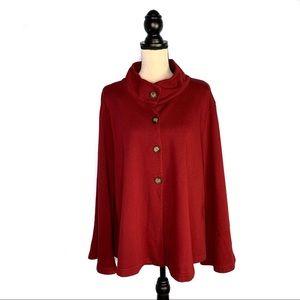 Bryn Walker Red Oversize Knit Bell Sleeve Cardigan